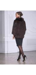 Жакет из меха лисы с кожаным поясом